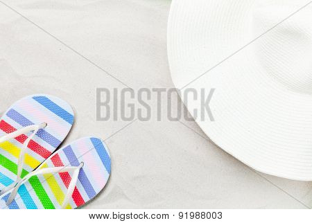 Colorful Flip Flops And Classic Beach Hat