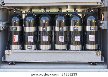 Oxygen Cylinders On Display