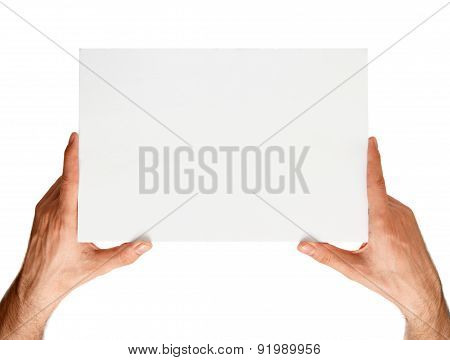Announcement Board In Hands On A White Background
