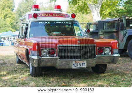 Vintage Cadillac Police Ambulance Car On Display