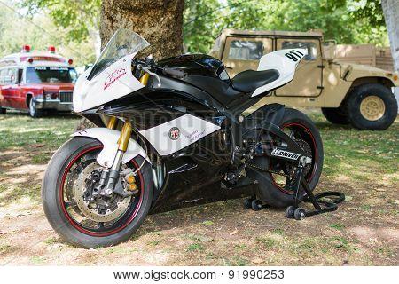 Police Racing Motocycle On Display
