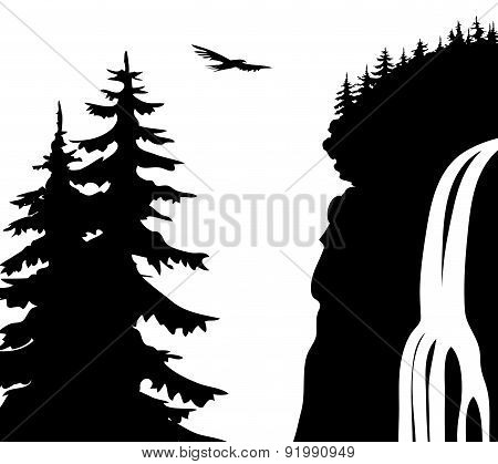 Vector illustration. Waterfall.