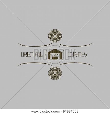 Logo Template For Oriental Cuisine Business. Ethnic  Design Logotype For Restaurant And Cafe. Japane