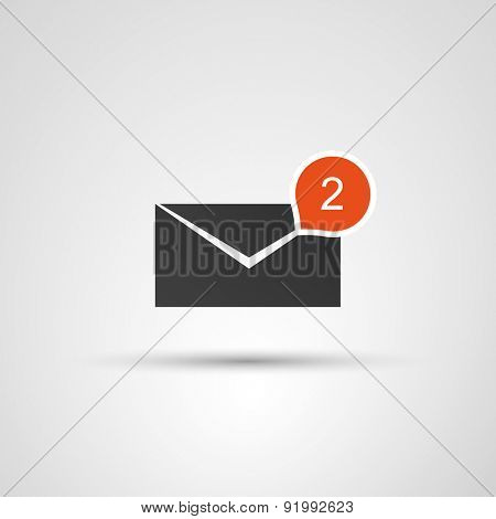 Mail Receive Icon - Flat Design Concept with Envelope and Bubble
