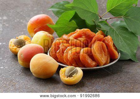 Natural organic dried apricots, rustic still life