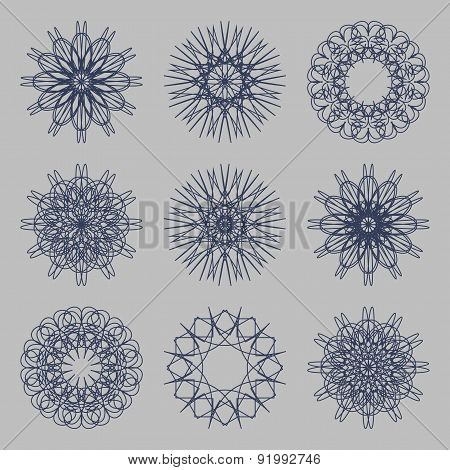Round Ornament Set. Circle, Snowflake And Floral Ornament Linear Vector Illustration. Logo Template.