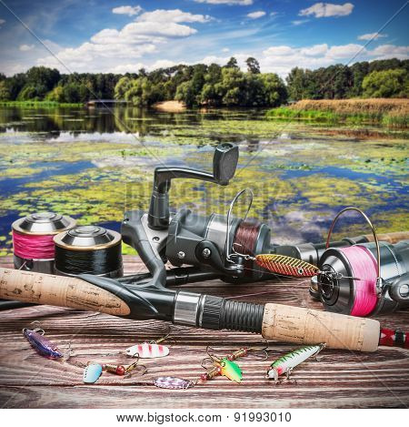 Fishing Tackle And Accessories On The Table