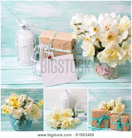 Collage With Daffodils Flowers, Gift Box, Candles