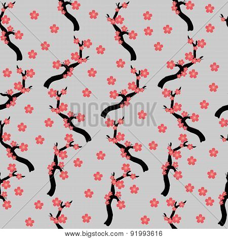 Blooming Sakura  Seamless Texture. Small Japanese Cherry Tree Seamless Pattern.
