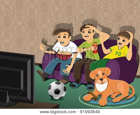 Football fans and dog.