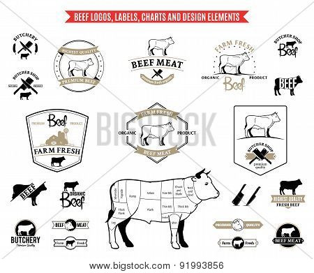 Beef  Labels, Charts and Design ElementsBeef  Labels, Charts and Design Elements