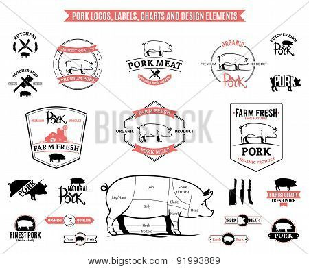 Pork Labels, Charts and Design Elements