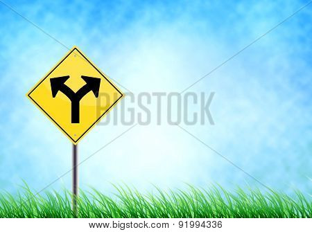 'junction' Realistic Metallic Road On Sign The Sky And Floor Grass : With Space  For Your Text