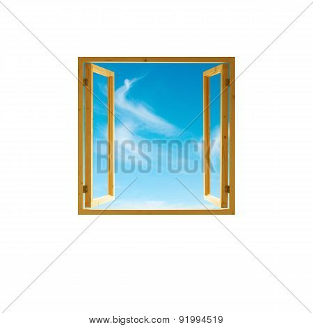 window frame open wooden, sky view, isolated on white background