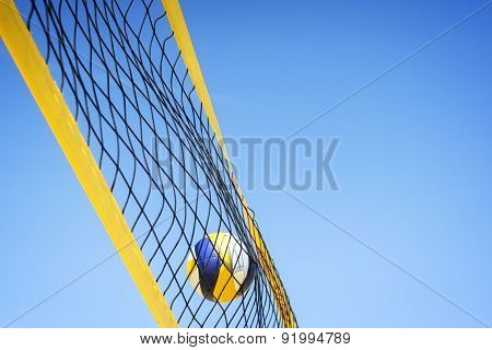 Beachvolley Ball Caught In Net