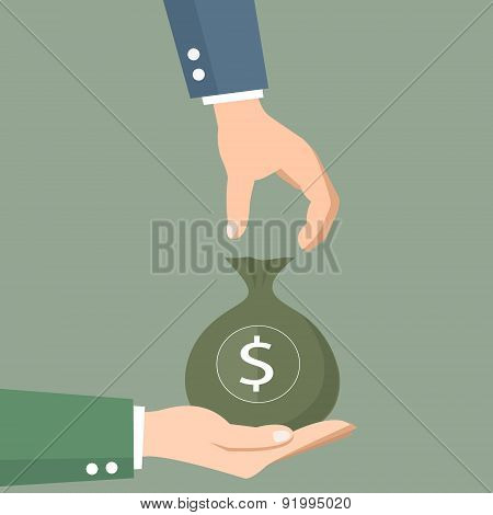 Money bag. Hands of business