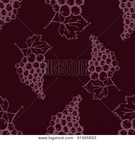Seamless pattern with hand drawn decorative grapes