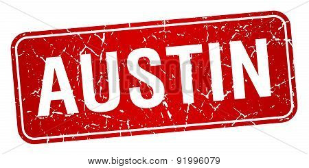 Austin Red Stamp Isolated On White Background