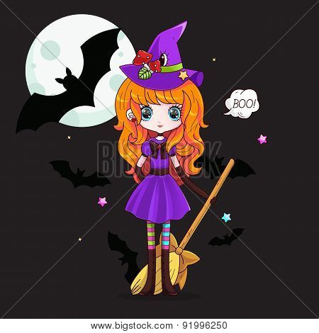 Adorable little witch. Halloween