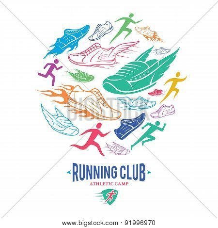 Running Club Label Template, Running Shoes Pattern