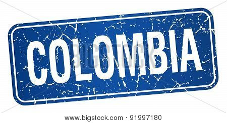 Colombia Blue Stamp Isolated On White Background