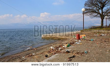 Plastic Pollution On A Beach Of Lake Ohrid , Macedonia