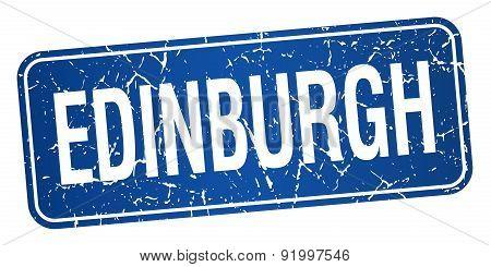 Edinburgh Blue Stamp Isolated On White Background
