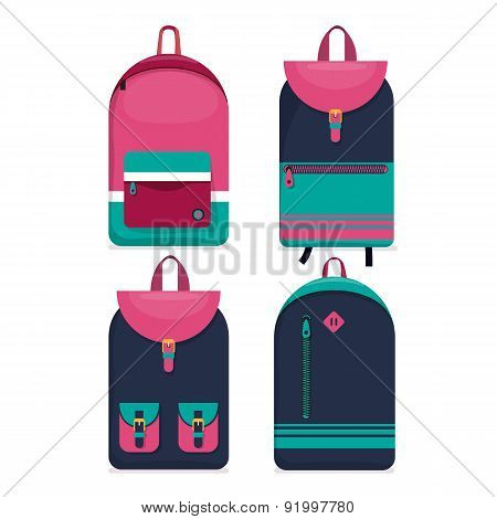 Set Of 4 Backpacks Icons. Flat Style.