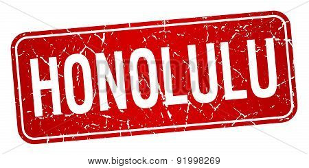 Honolulu Red Stamp Isolated On White Background