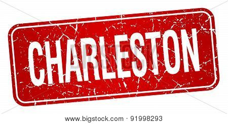 Charleston Red Stamp Isolated On White Background