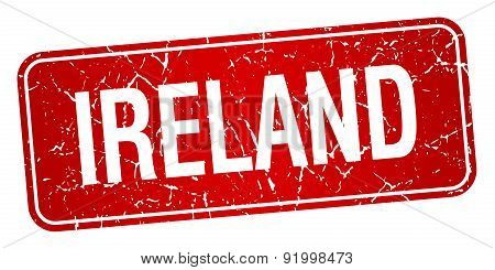 Ireland Red Stamp Isolated On White Background