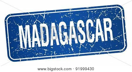 Madagascar Blue Stamp Isolated On White Background