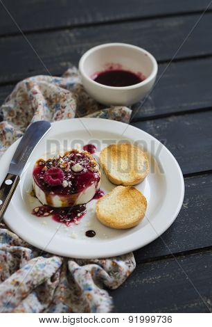 Sheep Cheese With Berry Sauce, Nuts And Balsamic Vinegar