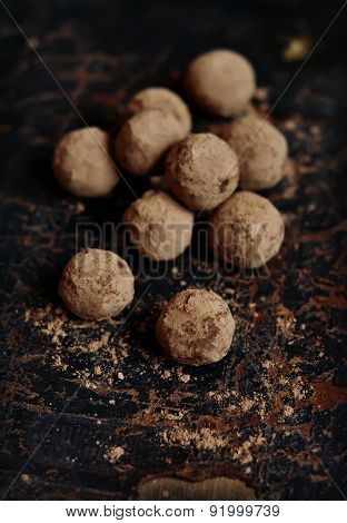 Truffle Candy On A Dark Vintage Surface