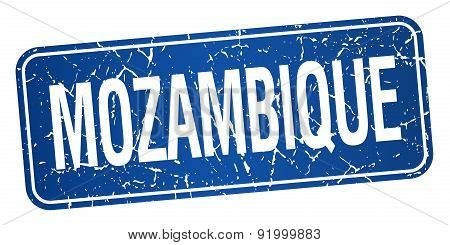 Mozambique Blue Stamp Isolated On White Background