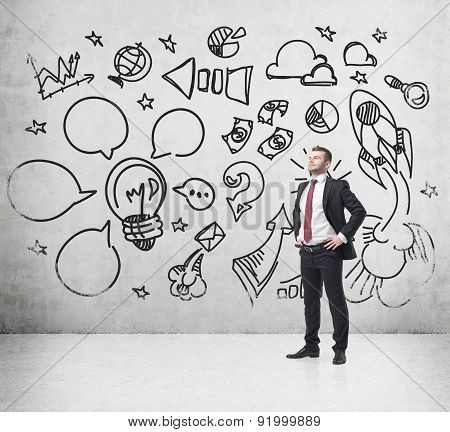 Confident Businessman Is Thinking About How To Create And Develop Business Project. A Sketch Of The