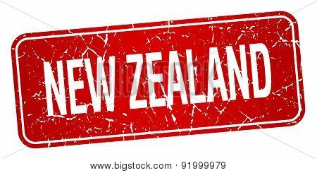 New Zealand Red Stamp Isolated On White Background