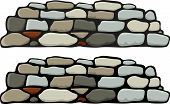 stock photo of old stone fence  - A stone wall with black and gray mortar variations - JPG