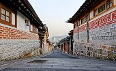 picture of seoul south korea  - Bukchon Hanok historic district in Seoul at sunset - JPG