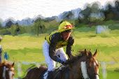 picture of thoroughbred  - Illustrative photo of a jockey riding thoroughbred race horse - JPG