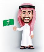 pic of saudi arabia  - Realistic Smiling Handsome Saudi Arab Man Character in 3D Posing Gesture with Thobe Dress Holding Saudi Arabia National Flag for Independence Day - JPG
