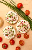 picture of vegetarian meal  - Vegetarian meal with crispy buns cottage cheese and vegetables - JPG