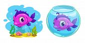 pic of game-fish  - Cute cartoon pink fish in the tank and in the sea vector illustration - JPG