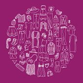 pic of outerwear  - Vector set of different women clothes and accessories from underwear to outerwear - JPG