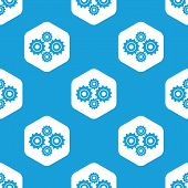 image of four-wheel  - Blue image of four cogs in white hexagon - JPG