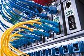 picture of telecommunications equipment  - Fiber optic equipment in a data center - JPG