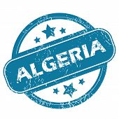 stock photo of algeria  - Round rubber stamp with word ALGERIA and stars - JPG
