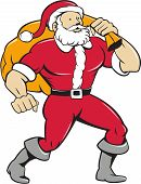 image of nicholas  - Cartoon style illustration of a muscular super santa claus saint nicholas father christmas carrying sack over shoulder pose looking to the side set inside on isolated white background - JPG