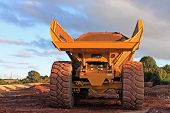 picture of dump  - dump truck on a road construction site - JPG