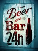 stock photo of drawing beer  - Vintage grunge style beer bar poster - JPG
